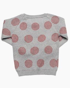 Micaela Greg Pinstripe Dot Sweater in Grey and Brick