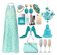 """""""Vintage Blue"""" by pulseofthematter ❤ liked on Polyvore featuring Irene Neuwirth, Courrèges, Sergio Rossi, Fendi, Kenneth Jay Lane, Michael Kors, Maybelline, Stray Dog Designs, Burberry and LSA International"""