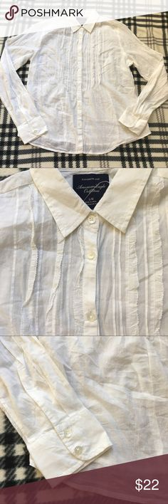 American Eagle white blouse size L Excellent condition  No tears or stains  From a pet and smoke free home  Shows minimal to no wear American Eagle Outfitters Tops Blouses