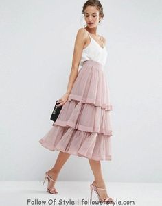 Custom Made Pink Tiered Tulle Skirts Womens Fashion Layered Mid Calf Skirt Sweet Tutu Saias faldas jupe femme Any color Free Trendy Dresses, Tight Dresses, Casual Dresses, Formal Dresses, Baggy Dresses, Formal Skirt, Skirt Outfits, Dress Skirt, Dress Up
