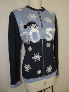 blue FROSTY by cricketcapers Blue Sweaters, Ugly Christmas Sweater, Being Ugly, Jackets, Vintage, Fashion, Down Jackets, Moda, Fashion Styles