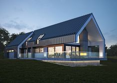 Traditional home by Architecture firm: LK & Projekt Modern Family House, Modern Barn House, Modern House Plans, Modern House Design, Gable House, Long House, Modern Farmhouse Exterior, Cottage Design, Building A House
