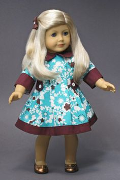 """AFTERNOON DRESS for AMERICAN GIRL DOLLS ❤ Pattern in """"The Mary Frances Sewing Book 100th Anniversary Edition"""". http://amazon.com/dp/1937564010/"""