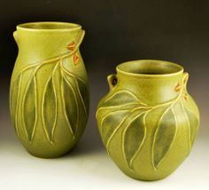 "JW Art Pottery, Portland, OR - Roseville Style Eucalyptus Handled Vases No. 2 and 3.  Olive, jade, and caramel glazes, 8"" and 6"" tall."