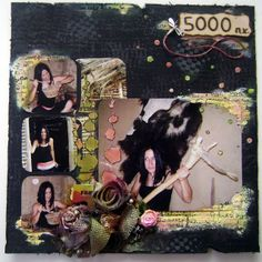 A funny scrapbooking layout with me pretending to be a prehistorical woman....a project I had lots of fun making!