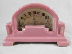 Vintage Art Deco Ray Bud Thermometer Pink Ceramic | eBay