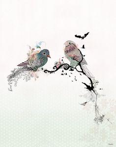 Love birds art watercolor art Bird illustration by lizkapiloto, $23.00