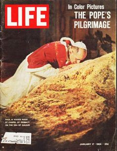 "1964 LIFE MAGAZINE vintage magazine cover ""Pope Paul VI"" ... January 17, 1964 ~ In Color Pictures, The Pope's Pilgrimage, photo by Shahrokh Hatami ~"