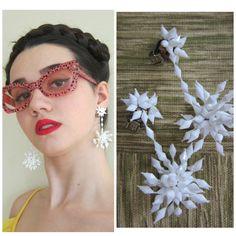 Vintage 1960s White Beaded Drop Earrings/ 60s Mod Psychedelic White Plastic Chandelier Dangly Earrings by BasyaBerkman on Etsy