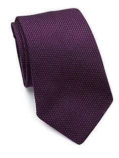 Ralph Lauren Textured Silk Tie - Purple - Size No Size