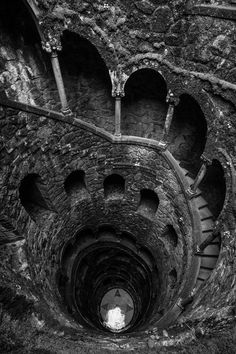 Spirals, Depth, Dark, Dreary, Gothic, Repetition, Textured.