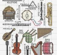 Image result for cross stitch patterns books music instruments