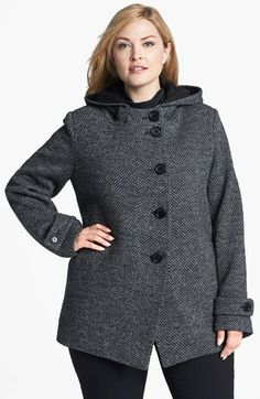 Kristen Blake Hooded Wool Blend Coat (Plus Size) finns på … Nordstrom Coats, Coat Outfit, Plus Size Coats, Plus Size Fashion For Women, Fashion Women, Jeans Material, Mode Hijab, Leggings, Curvy Fashion