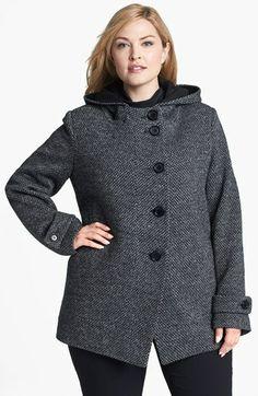 Kristen Blake Hooded Wool Blend Coat (Plus Size)
