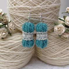 micro yarn doily earrings - adorable gifts for knitters and crocheters made by HandDrawnYarn
