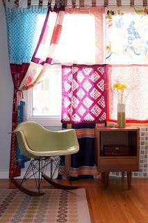 vintage scarves as curtains