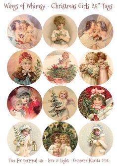 "Wings of Whimsy: 2,5"" Christmas Girls Tags #vintage #ephemera #freebie #printable #christmas #tags #girls"