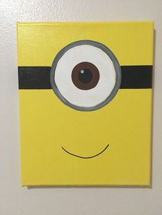 Painting for kids, minion painting, art for kids, kids canvas art Disney Canvas Art, Kids Canvas Art, Small Canvas Paintings, Small Canvas Art, Easy Canvas Painting, Cute Paintings, Canvas Ideas Kids, Acrylic Painting For Kids, Simple Acrylic Paintings