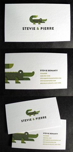 Letterpress business cards calling card custom calligraphy i find this business card a very quirky letterpress business card design for a brand agency i like how theyve got a green crocodile that goes well with the reheart Image collections
