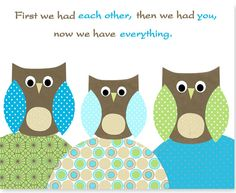 First We Had Each Other Owl Nursery Art Brown Green Blue Turquoise Boy's Nursery Decor Gender Neutral - Canvas or Paper - 8 x 10 or 11 x 14