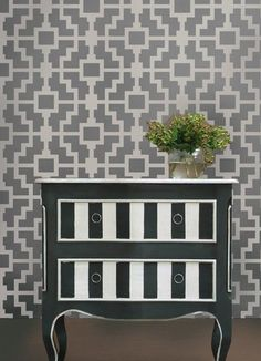 Add vertical stripes with geometric stencils | 99 Clever Ways To Transform A Boring Dresser