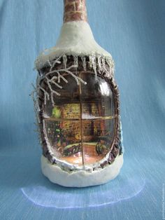 Hunting for grape flask activities?, this round out is your one-stop-shop from Home-built glasses to actually really chic mozzarella cheese trays. Glass Bottle Crafts, Wine Bottle Art, Wine Bottle Centerpieces, Vases, Bottles And Jars, Glass Jars, Clay Fairy House, Christmas Decoupage, Christmas Wine Bottles
