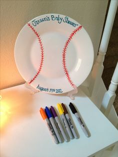 Plate for everyone to sign . . . With a sharpie, then bake at 350 for 30 min!