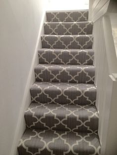 New stair carpet - Axminster Royal Wilton collection Windsor Trellis mid steel grey geometric contemporary stairs runner. Carpet Staircase, Basement Carpet, Hall Carpet, Basement Stairs, Carpet For Stairs, Carpet Decor, Diy Carpet, Beige Carpet, Wood