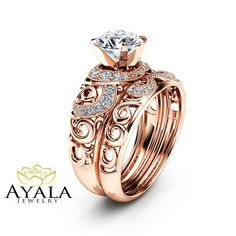 570df3d33 14K Rose Gold Moissanite Bridal Set Unique Engagement Rings Art Deco  Engagement Ring Filigree Bridal Ring