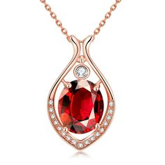 Rose Plated Classic New York Ruby Necklace, Women's