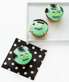 Bride of Frankenstein Cupcakes | These treats are sure to be the cutest cupcakes at school, and no one has to know how easy they are to make. The base is a simple chocolate cake. The secret to the frosting is marshmallow fluff, which makes it glossy and just sticky enough to hold the toppings. Sanding sugar acts as the hair, licorice stands in for eyebrows, sprinkles make the mouth, and pretzel rods mimic electrodes. Yellow candy dots for eyes are the finishing touch.
