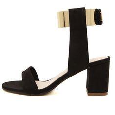 USD16.49Fashion Chunky High Heel Ankle Strap Black PU Sandals
