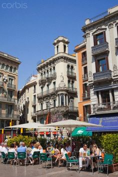 The Ramblas,Outdoor Cafe at Catalonia, Barcelona Spain Honeymoon, Barcelona Bars, Barcelona Architecture, Outdoor Cafe, Holiday Places, Spain And Portugal, Gaudi, Wanderlust Travel, Places To See