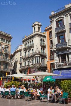 Barcelona, The Ramblas, Outdoor Cafes, Catalonia