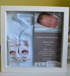 Birth announcement, hat, foot print towel, and first sonogram pic.what to do for the boys! Bebe Baby, Baby G, Baby Love, Newborn Shadow Box, Baby Memories, Baby Keepsake, Babies First Year, Baby Cakes, Newborn Outfits