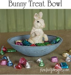 This was created out of a really tacky bowl and rabbit figurine that I found at the dollar store. I simply painted and then glued the bunny into the bottom of the bowl.
