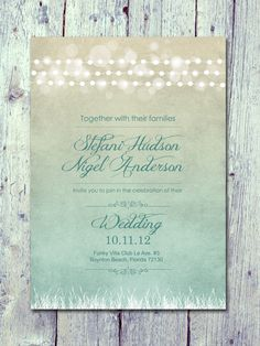 Romantic Light Garland Wedding Invitation and by WeddingSundae
