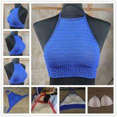 Bralette Pattern, Crochet Bikini Pattern, Crochet Bra, Crochet Clothes, Diy Clothes, Crochet Summer Tops, Crochet Crop Top, Crochet Halter Tops, Fashion Sewing