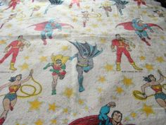 Vintage 1977 Dc Comics Inc Superhero Blanket Superman Wonder Woman Batman & More