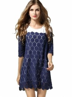Solid Hollow Out Lace Dress For Women Navy
