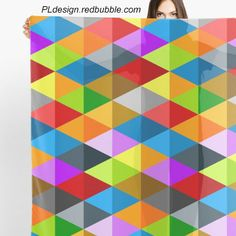Modern bright funky colorful triangles pattern Sheer scarf by #PLdesign #geometric #modern #ColorfulTriangles #redbubble