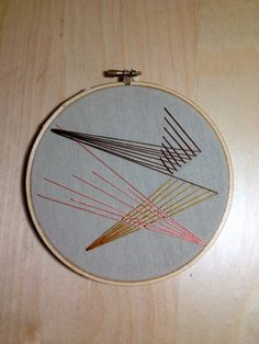 BENT LIGHT  geometric embroidery wall hanging / embroidery hoop. $15.00, via Etsy.