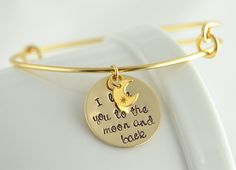 Bangle charm bracelet, I love you to the moon and back, Personalized bracelet, womens jewelry, Alex and Ani inspired on Etsy, $45.00
