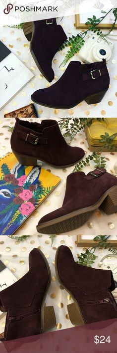 Sonoma purple plum suede ankle  booties size 8.5 Sonoma purple plum ankle faux suede booties size 8.5 Faux suede !  Comfortable plum ankle booties so cute with cuffed jeans !!  A good cushion ✨  Easy to walk in and true to size !  Any ? Please ask  I would love to accept your offer ✨💛 Sonoma Shoes Ankle Boots & Booties