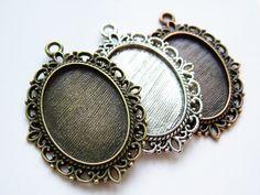 Pendant Trays- 18x25mm Oval Bezel Cup Cabochon Mountings, 10PCS, 3colors available- antique silver, antique copper, antique bronze HY22361