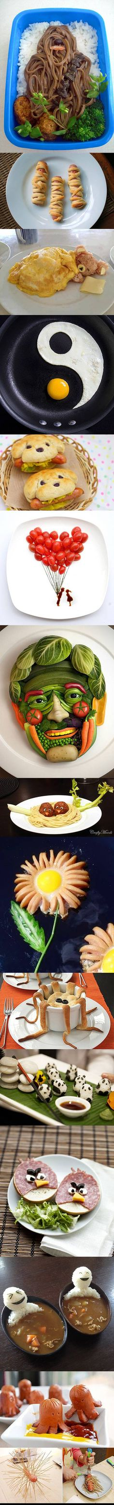 Here's a few cool examples that show how geeks play with their food.