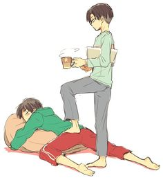 Rivaille (Levi) x Eren Jaeger | They look like their age is in between 10-13.. agree?