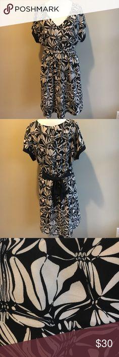 """Anthropologie Postmark Floral Dress Beige and black floral print. Tie waist. Black trim on arm sleeves. V-Neck. Size: medium. Length: 34"""", Bust: 18"""". Anthropologie Dresses"""