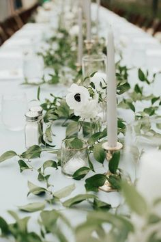 Simple and elegant wedding centerpiece - greenery garland, anemones and candles - Find a wedding planner in your city on WeddingWire! {Leigh and Mitchell} Greenery Centerpiece, Flower Centerpieces, Wedding Centerpieces, Greenery Garland, Table Centerpieces, Table Decorations, Wedding Reception Flowers, Wedding Reception Decorations, Flowers
