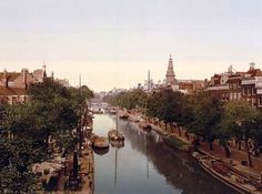 Klovenier Burgwal canal, Amsterdam, Holland, 1890 and 1900